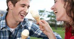 laughing couple, ice cream
