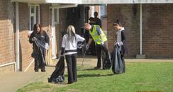 People helping to pick up litter in Park Wood