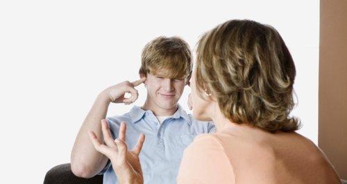 Parent scolding son