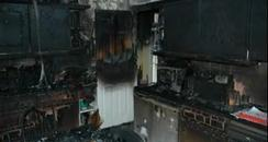 The damage caused to the kitchen