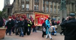 postal workers protesting
