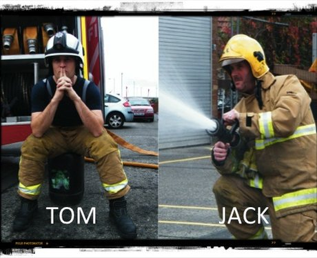 Tom & Jack pose as firemen