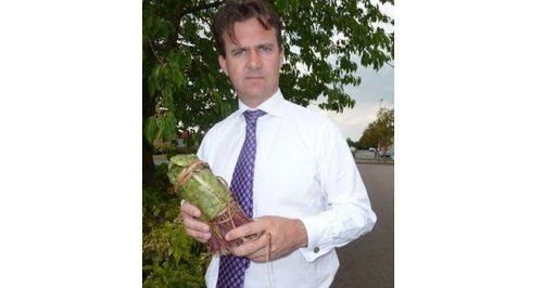 Mark Lancaster MP with a bundle of khat