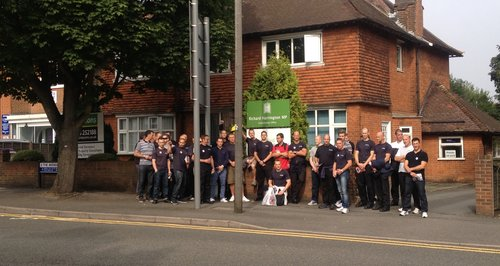Firemen walk through Watford town centre on strike
