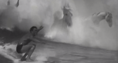 Man surfs with CGI horses