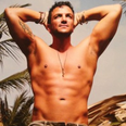 Peter Andre shows off his chest in the sun