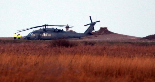 US Military Helicopter Landed Near Site Of Crash