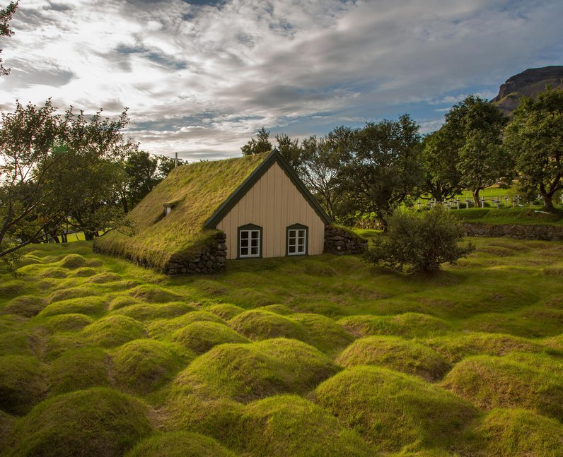 church made of wood and turf