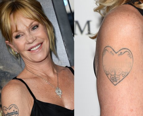 Melanie Griffith with her tattoo and after she had it removed
