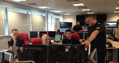 Officers work in the control centre