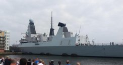 HMS Duncan arriving in Cardiff Bay
