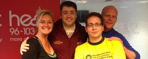 Jason Manford with Ed, Troy and Paulina