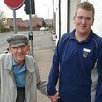 An Aldi shop worker and old man