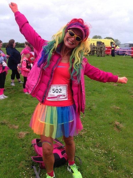 lady in rainbow costume