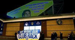 Leeds United fan stunt against owner Massimo Celli