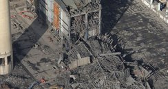 Didcot power station collapse Heli view