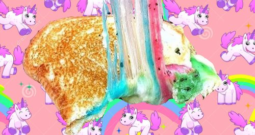 Rainbow cheese toastie and backgound