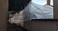 Excavation tent set up at Bradninch home