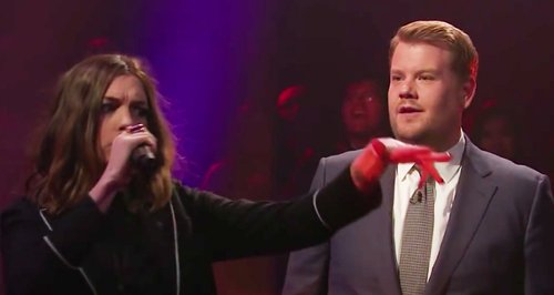 Anne Hathaway and James Corden Mic Drop
