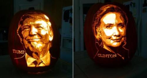 Donald Trump and Hilary Clinton pumpkin carvings