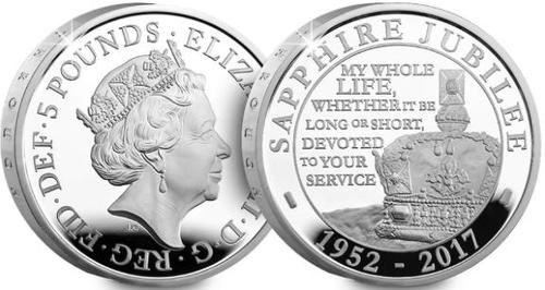 Queen Sapphire Jubilee £5 coin